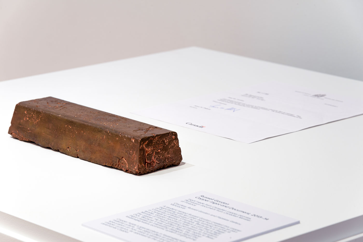 Copper Ingot and Document at Remai Modern, Saskatoon, Saskatchewan